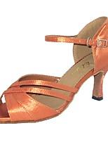 Women's Latin Satin Sandal Indoor Customized Heel Almond Black White Gold
