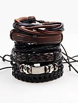 Men's Leather Bracelet Wrap Bracelet Handmade Rock Leather Line Irregular Jewelry For Stage Club