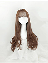 Women Long Brown Wavy Synthetic Hair Capless Celebrity Wig Costume Wigs