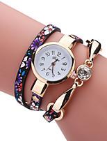 Mulheres Relógio de Moda Bracele Relógio Simulado Diamante Relógio Chinês Quartzo PU Banda Vintage Pendente Casual Elegantes Preta Azul