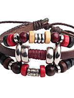 Men's Leather Bracelet Strand Bracelet Adjustable Hip-Hop Leather Wood Circle Jewelry For Stage Club