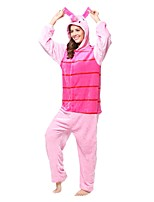Kigurumi Pajamas Piggy/Pig Leotard/Onesie Festival/Holiday Animal Sleepwear Halloween Pink Stripes Animal Flannel Kigurumi For Unisex