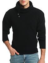 Для мужчин Спорт На каждый день Винтаж Простое Обычный Пуловер Однотонный,Хомут Длинный рукав Шерсть Хлопок Искусственный шёлк Осень Зима