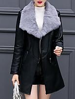 Для женщин На каждый день Большие размеры Осень Зима Кожаные куртки Рубашечный воротник,Простой Однотонный Длинная Длинный рукав,