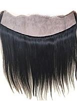 el oído recto lujoso 13x4 al pelo virginal brasileño frontal del cordón de la base de seda lleno del oído libera la parte pre cepillada
