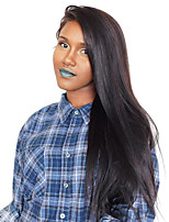 Mujer Pelucas de Cabello Natural Hindú Remy Encaje Frontal Frontal sin Pegamento 180% Densidad Liso Peluca Negro Largo Atado 100 % a mano