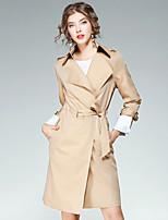 Для женщин На выход На каждый день Осень Пальто Лацкан с тупым углом,Уличный стиль Однотонный Длинная Длинный рукав,Полиэстер