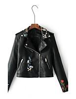 Для женщин Спорт На каждый день Весна Осень Кожаные куртки Лацкан с тупым углом,Простой Однотонный Короткая Длинный рукав,Полиуретановая,