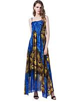 Для женщин Большие размеры Богемный Уличный стиль С летящей юбкой Платье С принтом,На бретелях Макси Без рукавов Полиэстер Лето С высокой