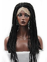 жен. Парики из искусственных волос Лента спереди Длиный Кудрявые Афро Черный Парик с косичками Плетение на волосах Для темнокожих женщин