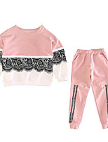 Girls' Patchwork Sets,Cotton Polyester Fall Long Sleeve Clothing Set