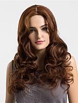 Mujer Pelucas sintéticas Sin Tapa Largo Ondulado castaño medio Pelo Ombre Raya en medio Peluca natural Las pelucas del traje