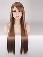Women Synthetic Wig Capless Long Straight Medium Brown Cosplay Wigs Costume Wig