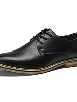 Men's Shoes PU Spring Fall Comfort Oxfords Lace-up For Casual Black Brown