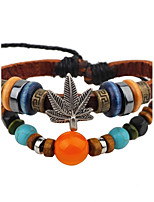 Men's Women's Leather Bracelet Vintage Adjustable Leather Alloy Round Leaf Jewelry For Casual Going out
