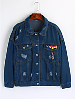 Women's Going out Simple Winter Denim Jacket,Solid Shirt Collar Long Sleeve Regular Cotton