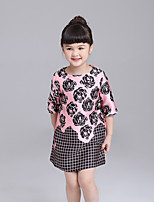 Girl's Casual/Daily Floral Dress,Polyester Spring Fall ¾ Sleeve