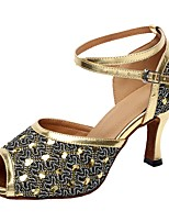 Women's Latin Sparkling Glitter Sandal Indoor Customized Heel Silver Gold