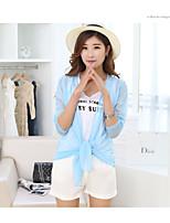 Women's Daily Magnetic Cat Eye Summer Denim Jacket,Solid Round Neck Long Sleeve Regular Polyester