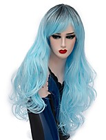 Women Synthetic Wig Capless Long Deep Wave Light Blue Ombre Hair Halloween Wig Costume Wigs