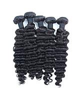 Натуральные волосы Перуанские волосы Человека ткет Волосы Глубокие волны Наращивание волос 5 Черный