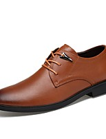 Men's Shoes Real Leather Nappa Leather Cowhide Spring Fall Comfort Formal Shoes Driving Shoes Oxfords Lace-up For Wedding Office & Career