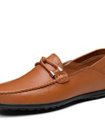 Men's Shoes Leatherette Spring Fall Comfort Loafers & Slip-Ons With Split Joint For Casual Brown Yellow Black