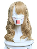Women Synthetic Wig Capless Medium Wavy Light Brown Cosplay Wig Costume Wig