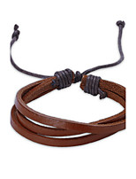 Men's Women's Leather Bracelet Jewelry Punk Adjustable PU Circle Line Jewelry For Casual Street