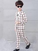Boys' Plaid Sets,Cotton All Seasons Long Sleeve Clothing Set