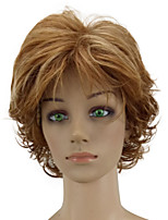Women Synthetic Wig Capless Short Curly Golden Brown Highlighted/Balayage Hair Layered Haircut Natural Wig Costume Wigs