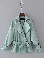 Для женщин Спорт На каждый день Весна Осень Кожаные куртки Лацкан с тупым углом,Простой Однотонный Обычная Длинный рукав,Полиуретановая