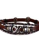 Муж. Жен. Кожаные браслеты Хип-хоп Rock Кожа Титановая сталь В форме линии Бижутерия Назначение Для вечеринок День рождения