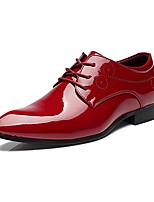 Men's Shoes Patent Leather Fall Winter Comfort Oxfords Lace-up For Casual Party & Evening White Black Red Blue