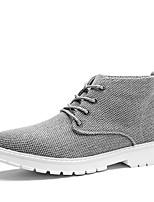 Для мужчин Туфли на шнуровке Удобная обувь Весна Лето Лён Повседневные Черный Бежевый Серый Военно-зеленный На плоской подошве