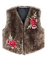 Women's Plus Size Going out Casual/Daily Cute Punk & Gothic Chinoiserie Winter Fur Coat,Solid Plaid Round Neck Sleeveless Short Faux Fur