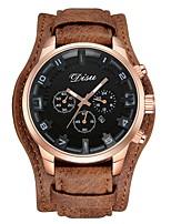 Hombre Niños Reloj Deportivo Reloj de Moda Reloj de Pulsera Reloj Pulsera Chino Cuarzo Calendario Punk Esfera Grande Piel Cuero Auténtico
