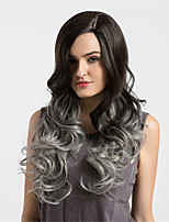 Women Synthetic Wig Capless Long Very Long Wavy Black/Grey Ombre Hair Natural Wigs Costume Wigss
