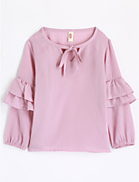Girls' Solid Tee,Cotton Fall Long Sleeve
