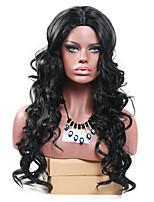 жен. Парики из искусственных волос Без шапочки-основы Длиный Естественные кудри Черный Для темнокожих женщин Парики для косплей Парик из