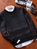 Men's Casual/Daily Regular Pullover,Solid Round Neck Long Sleeves Cotton Fall Winter Medium Micro-elastic