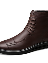 Men's Boots Fashion Boots Fall Winter Real Leather Casual Outdoor Lace-up Flat Heel Dark Brown Black Flat