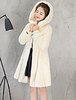 Women's Going out Casual/Daily Simple Fall Winter Fur Coat,Solid Hooded Long Sleeve Long Faux Fur Rayon Fur Trim