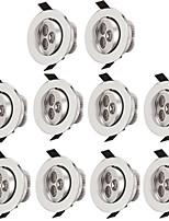 10pcs 3w привело утопленный потолочный свет 300lm теплый / холодный белый светодиодный светильник для освещения в помещении ac85-265v