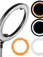 andoer rl-680b 18.9 / 48cm 55w dimmable 5500k lámpara video llevada macro de la luz del anillo 240pcs granos w / white anaranjado filtro