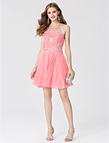 A-Line Princess Halter Short / Mini Chiffon Cocktail Party Dress with Crystal Detailing by TS Couture®