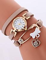 Жен. Модные часы Часы-браслет Кварцевый PU Группа Cool Повседневная Белый Серый Бежевый
