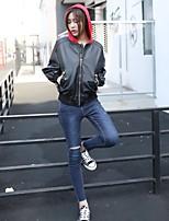Для женщин На выход На каждый день Весна Осень Кожаные куртки Капюшон,Простой Активный Уличный стиль Однотонный Обычная Длинный рукав,