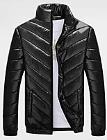Пальто Простое Обычная Пуховик Для мужчин,Однотонный На каждый день Большие размеры Полиэстер Полипропилен,Длинный рукав