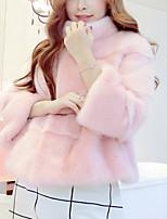 Для женщин Для вечеринок На каждый день Зима Пальто с мехом V-образный вырез,Уличный стиль Однотонный Обычная Рукав ¾,Искусственный мех